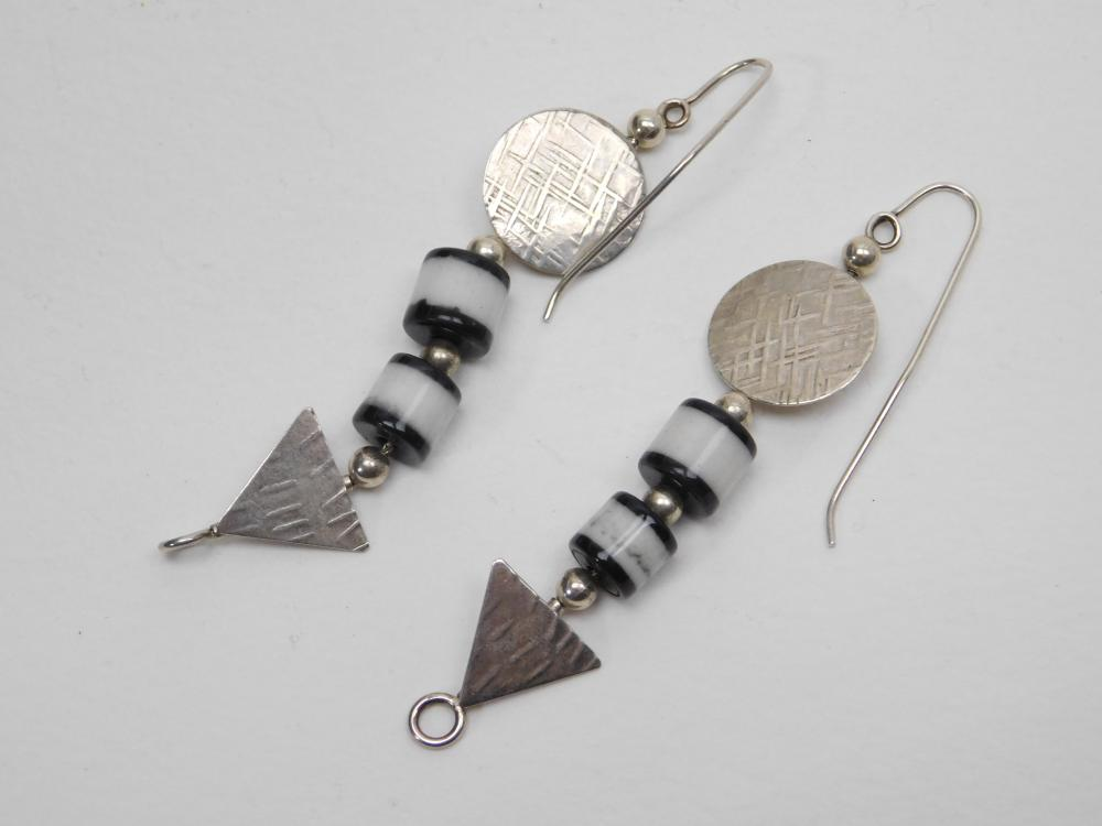 Sterling Silver B Sucherman Geometric Shape Bead Dangle Earrings 8.9G