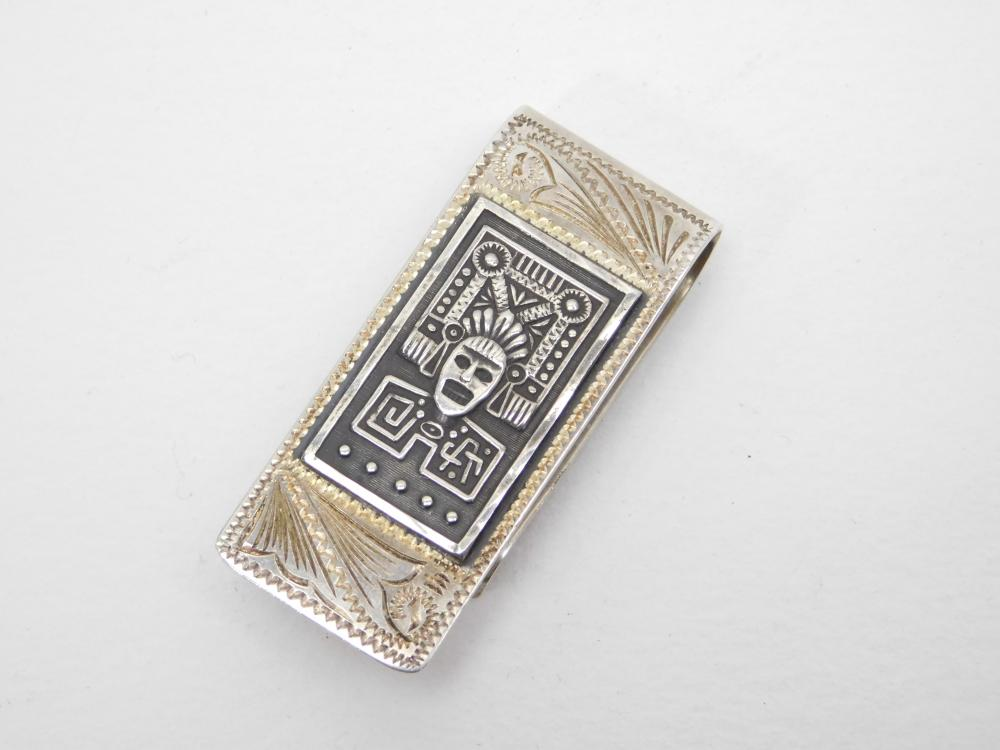 Vintage Taxco Mexico Sterling Tooled Silver Mayan Panel Money Clip 19.8G