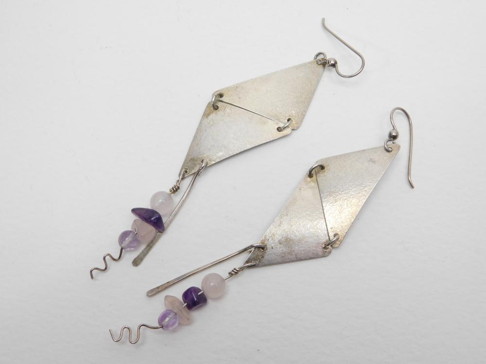 Vintage Handmade Sterling Silver Amethyst Rose Quartz Dangle Earrings 9.6G