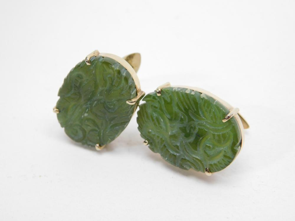 Vintage Goldfilled Sterling Carved Dragon Jade Panel Cufflinks 13G