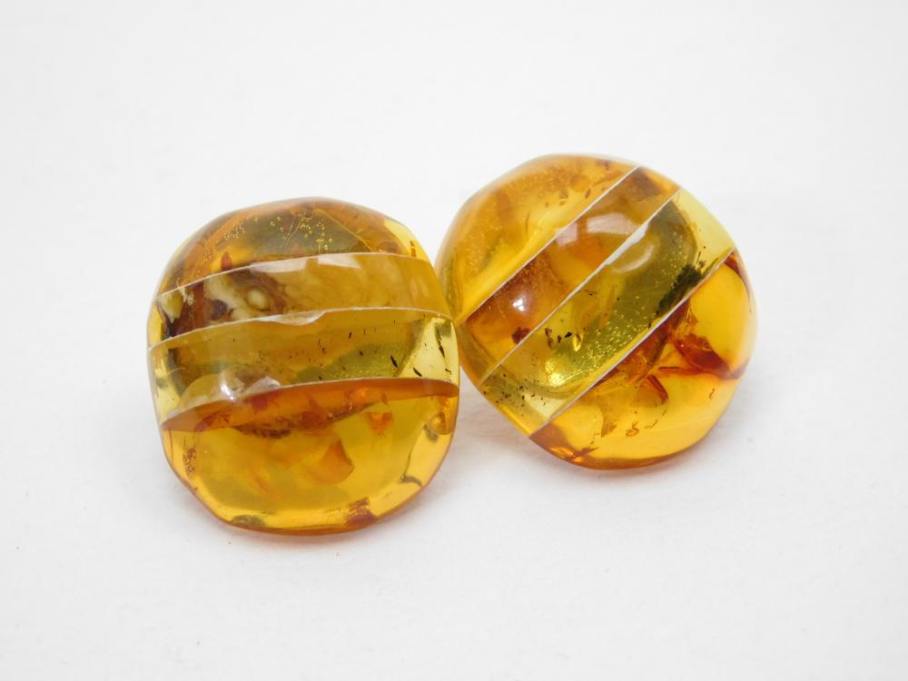 Vintage Sterling Silver Mixed Layered Amber Button Cabachon Earrings 6.9G