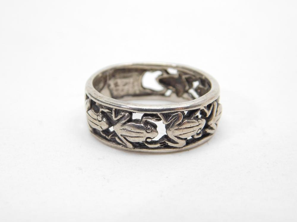 Sterling Silver Incised Frog Band Ring 5G Sz9.75