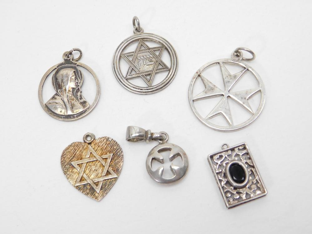 Lot Of 6 Vintage Sterling Silver   Religious Pendants 19G