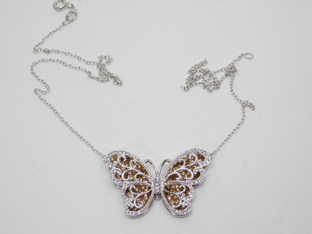 Sterling Silver Orange & Clear Cz Cluster Butterfly Necklace 6G