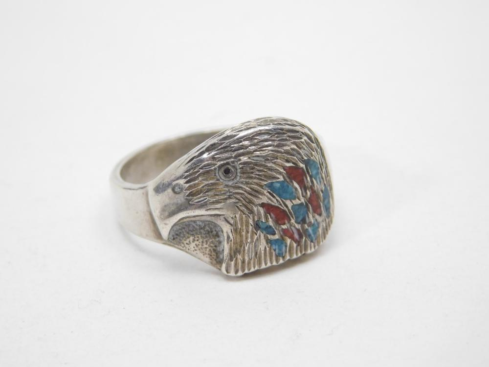 Vintage Native American Wheeler Manufacturing Of Lemmon Sterling Turquoise Coral Inlaid Eagle Head Ring 6.8G Sz11.5