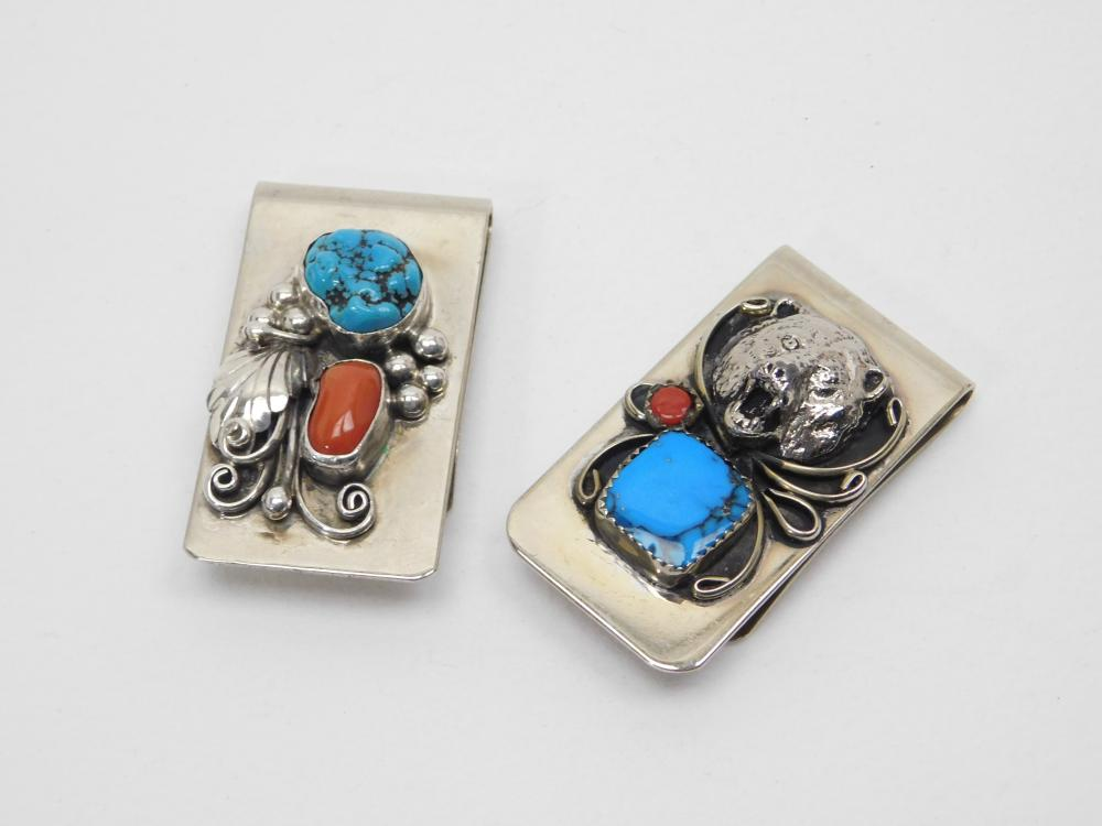 2 Vintage Native American Navajo Nickel Silver Turquoise Coral Bear Money Clips