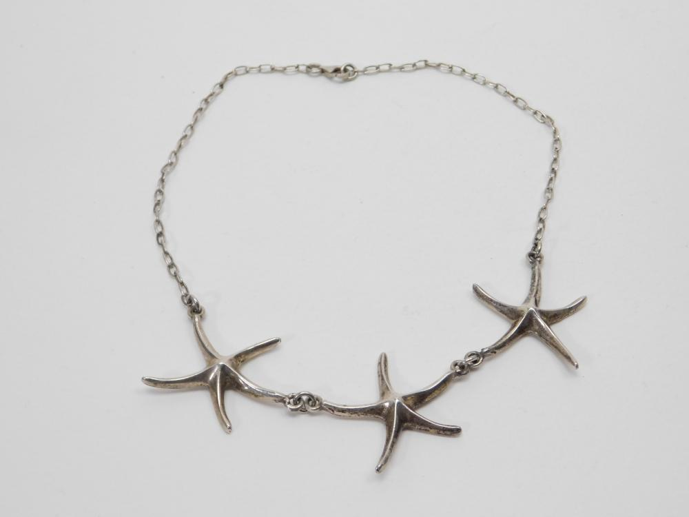 Vintage Sterling Silver Triple Starfish Pendant Beach Necklace 30G