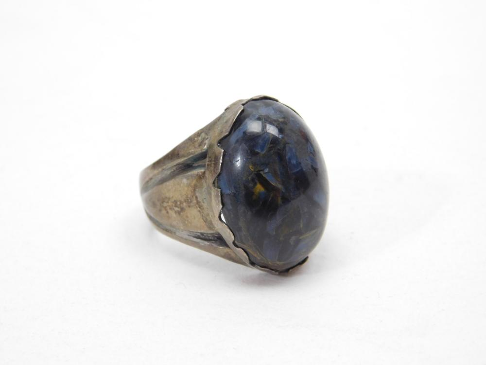 Vintage Southwestern Sterling Silver Blue Tigers Eye Ring 10.5G Sz9