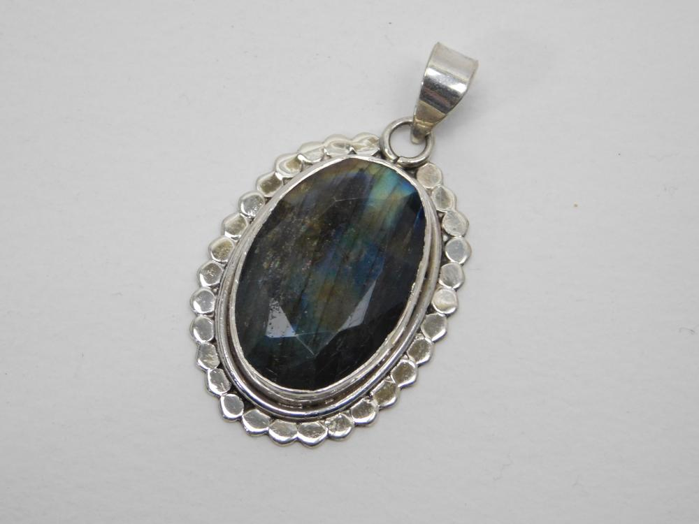 Sterling Silver Faceted Labradorite Large Pendant  17G