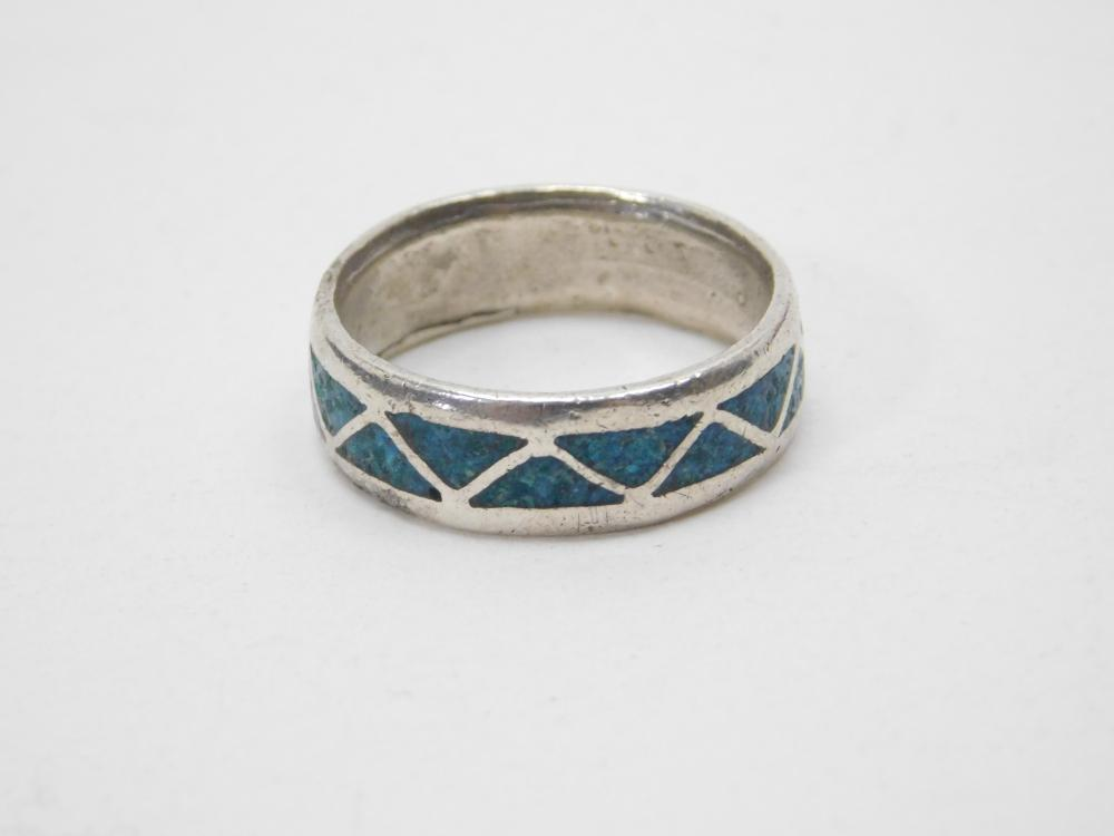 Vintage Native American Sterling Silver Turquoise Chip Inlay Mens Ring 6G Sz11.5