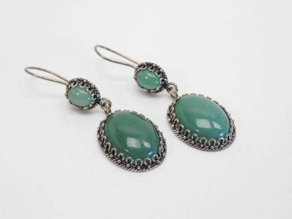 Vintage Dcs Turkey Sterling Silver Jadeite Dangle Earrings  14.5G