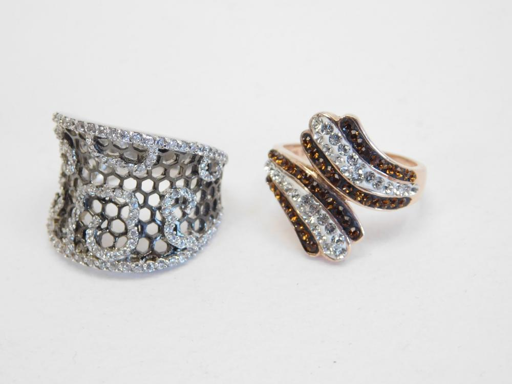 2 Sterling Silver Brilliant Cz Bypass & Honeycomb Fashion Cocktail Rings 10.5G Sz7&7.5