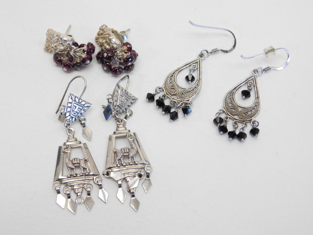 3Pr Sterling Silver Flower Garnet Lama & Filigree Dangle  Earrings 20G