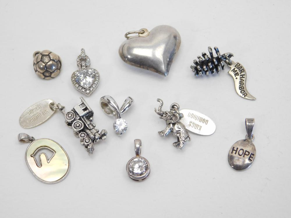 10 Mixed Sterling Silver Pendants & Charms Lot 22G