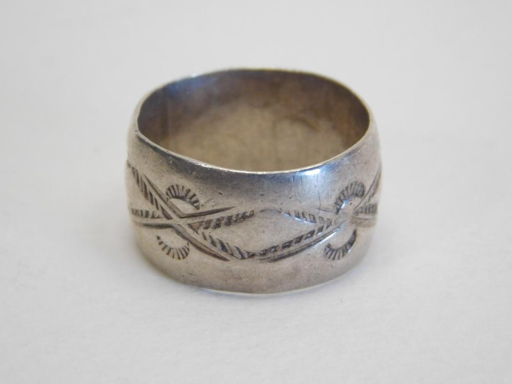Vintage Native American Navajo Sterling Stamped Wide Band Ring 7G Sz7.75