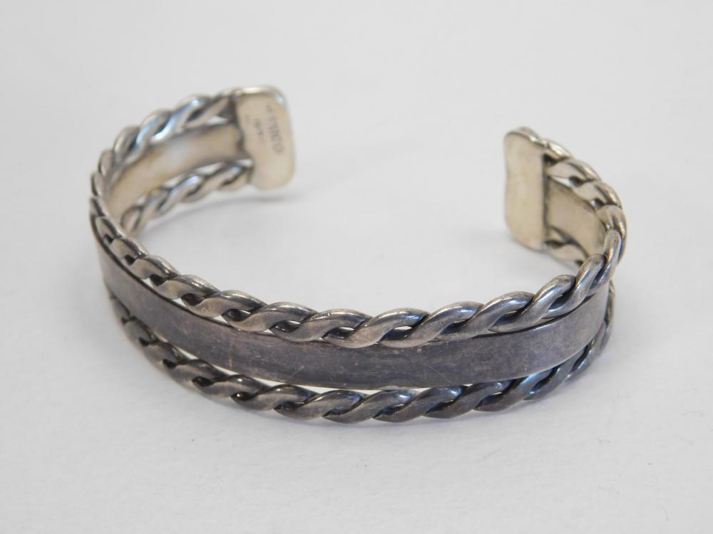 Vintage Mexico Sterling Silver Twisted Wire Cuff Bracelet 23G
