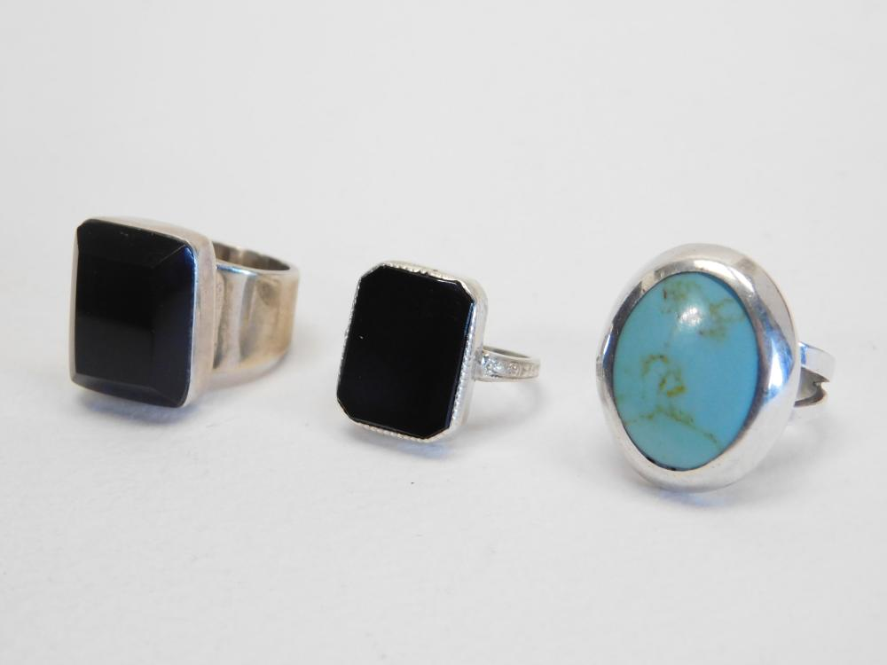 3 Mexico Sterling Silver Inlaid  Turquoise & Onyx Rings 25G Sz6&7