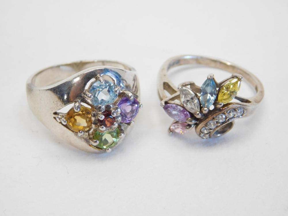 2 Sterling Silver Multistone Cluster Fashion Cocktail Rings 10G Sz8&9