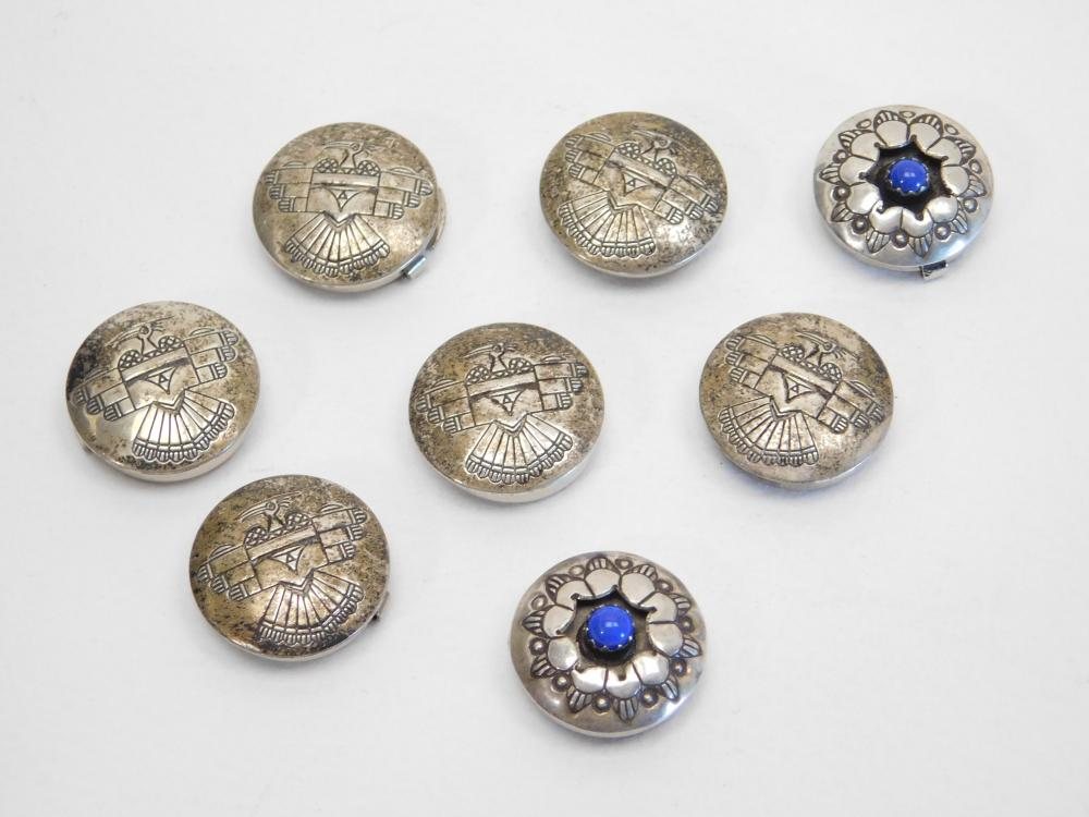 8 Vintage Native American Sterling Thunderbird & Lapis Button Covers 27G