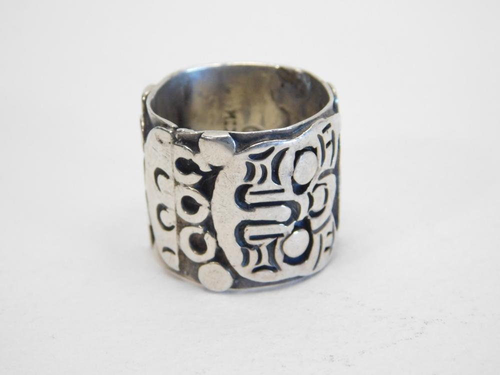 Vintage Taxco Mexico Sterling Silver Mayan Mask Band Ring 13G Sz6.75