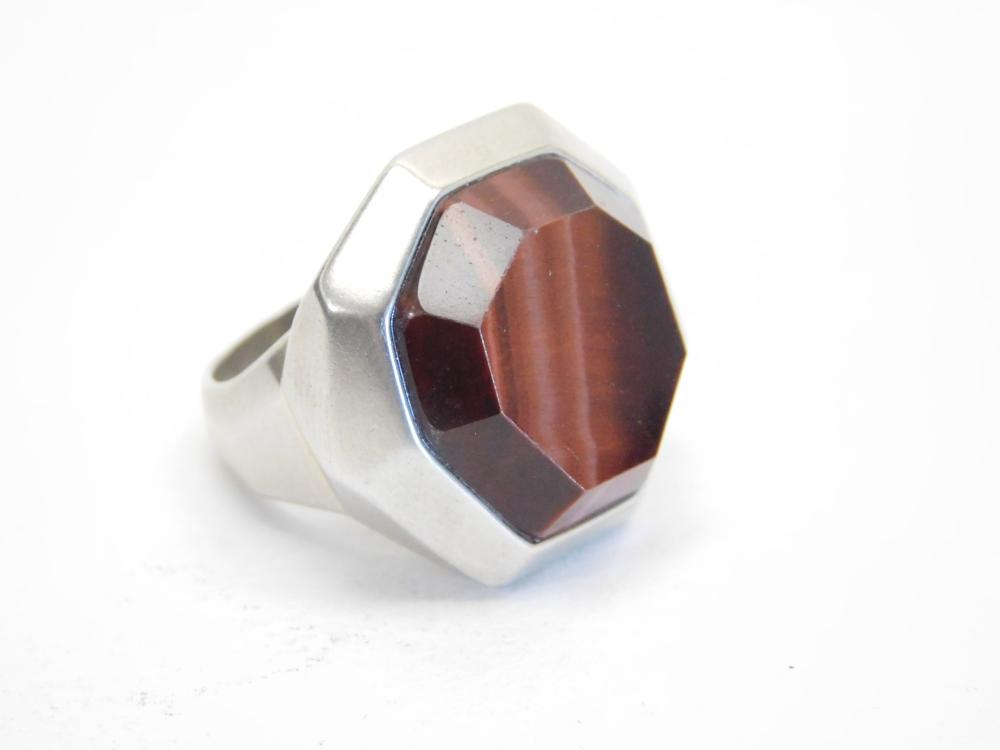 Silpada Sterling Silver Rootbeer Tigers Eye Octagon Ring 15.7G Sz8.25