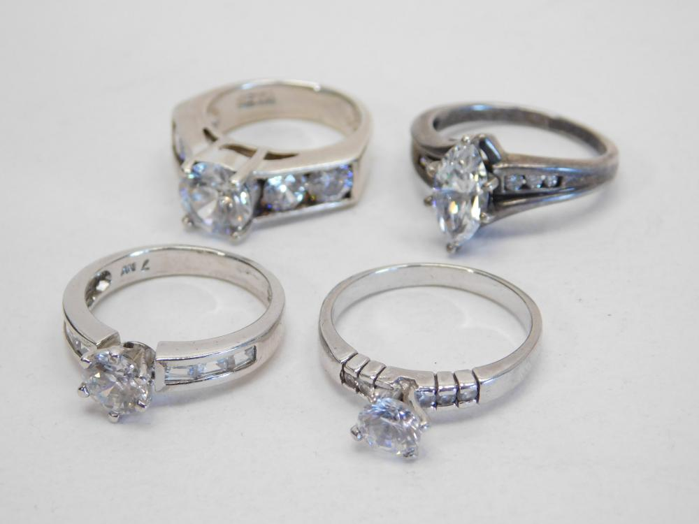 4 Sterling Silver Brilliant Cz Fashion Cocktail Rings 20G Sz6 7.5&9
