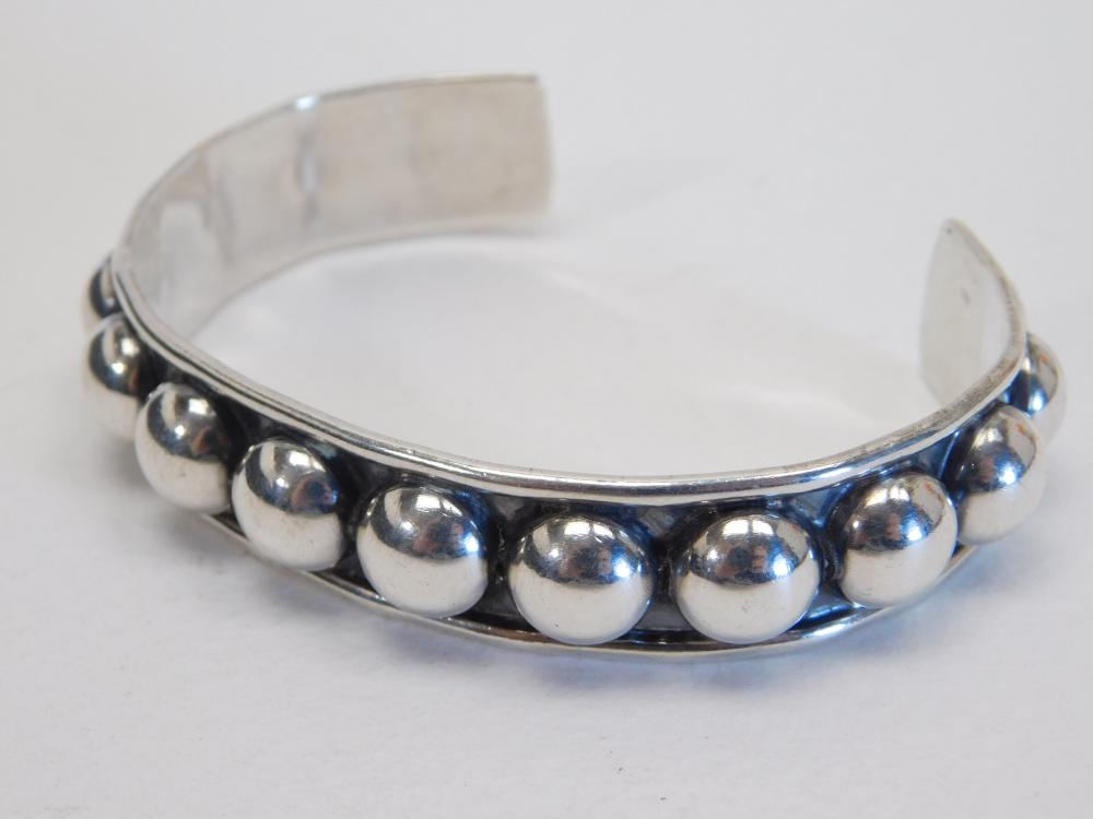 Vintage Mexico Mens Sterling Silver Beaded Cuff Bracelet 30G