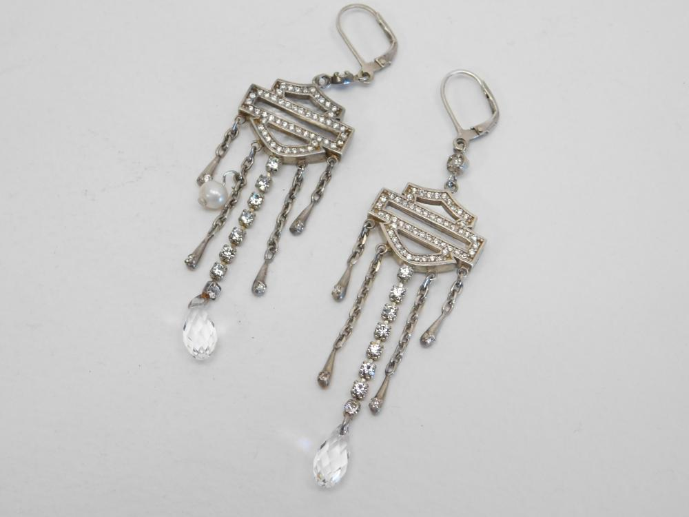 Harley Davidson Sterling Silver Mop Pearl Faceted Crystal Dangle Earrings 15G