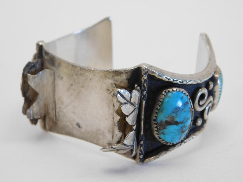 Vintage Mens Native American Navajo Sterling Turquoise Watch Cuff Bracelet 78G