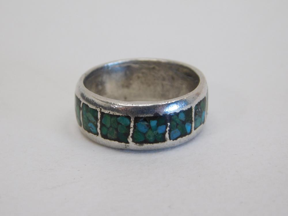 Vintage Native American Navajo Mens Sterling Turquoise Chip Inlay Band Ring 8.4G Sz10.75
