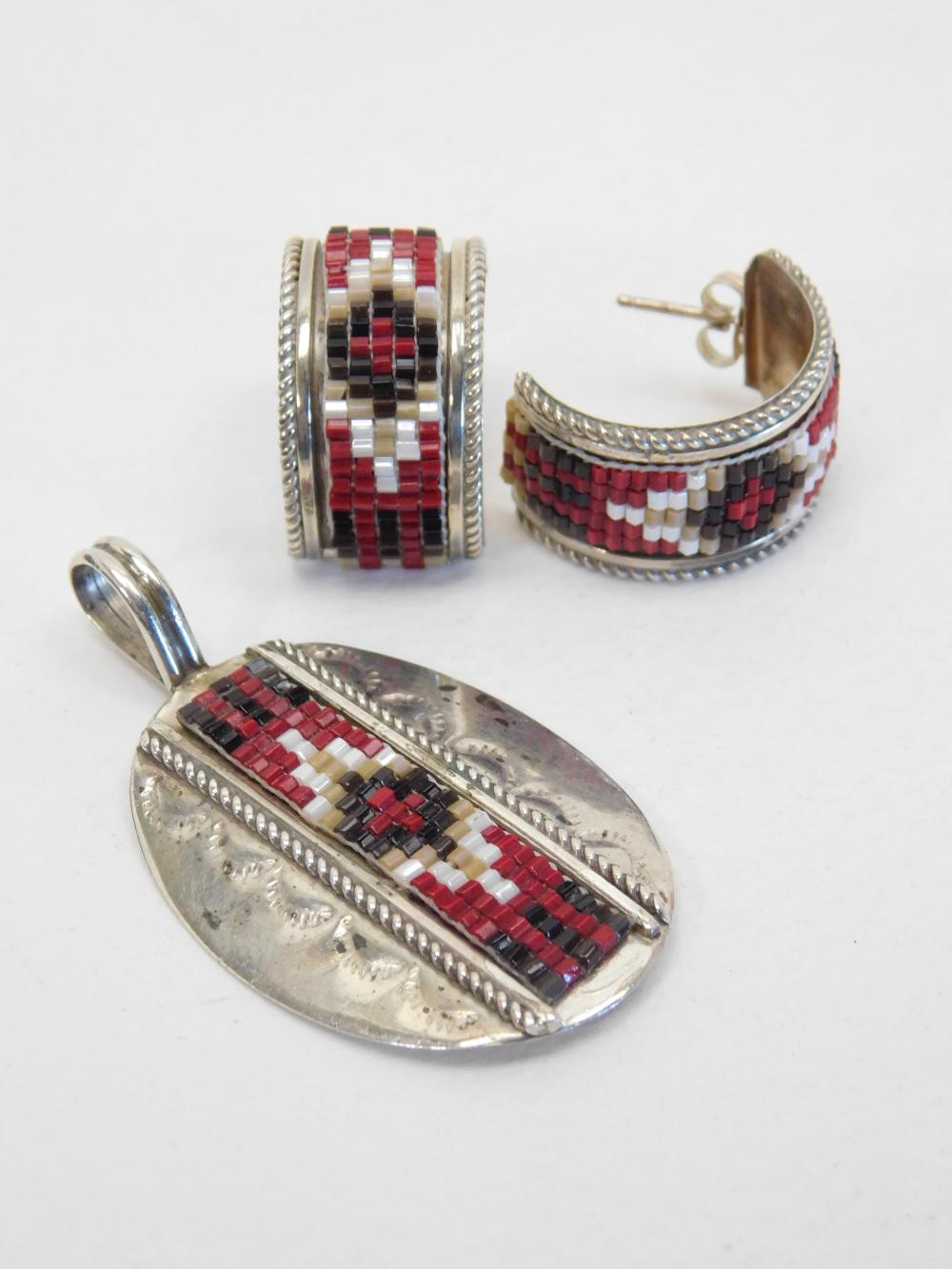 Vintage Native American Sterling Silver Mosaic Beadwork Pendant & Earrings Set 11G