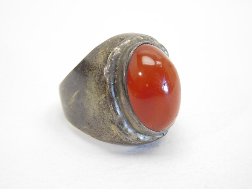 Vintage Mens Sterling Silver Carnelian Dome Ring 17.5G Sz10.25