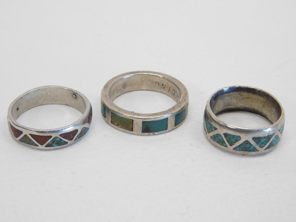 2 Vintage Native American Navajo Sterling Turquoise Chip Inlay Band Rings 16G Sz7&9.5