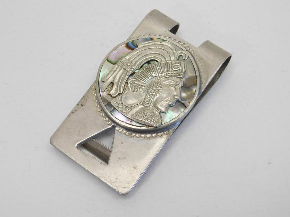 Vintage Mexico Sterling Silver Abalone Mayan Warrior Money Clip 20G