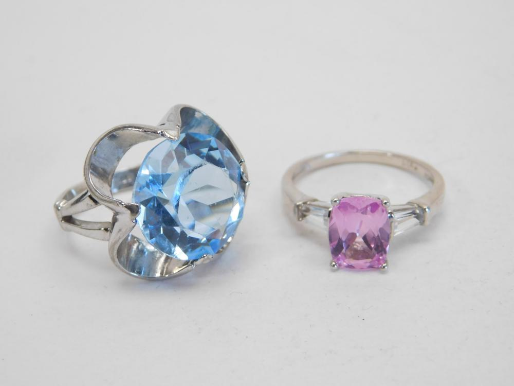 Sterling Silver Blue & Pink Stone Fashion Rings 9.9G Sz5.25&7.25