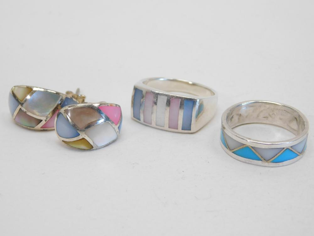 Lot Of 3 Multicolored Shell Inlay Rings & Earrings 14.3G Sz8.75