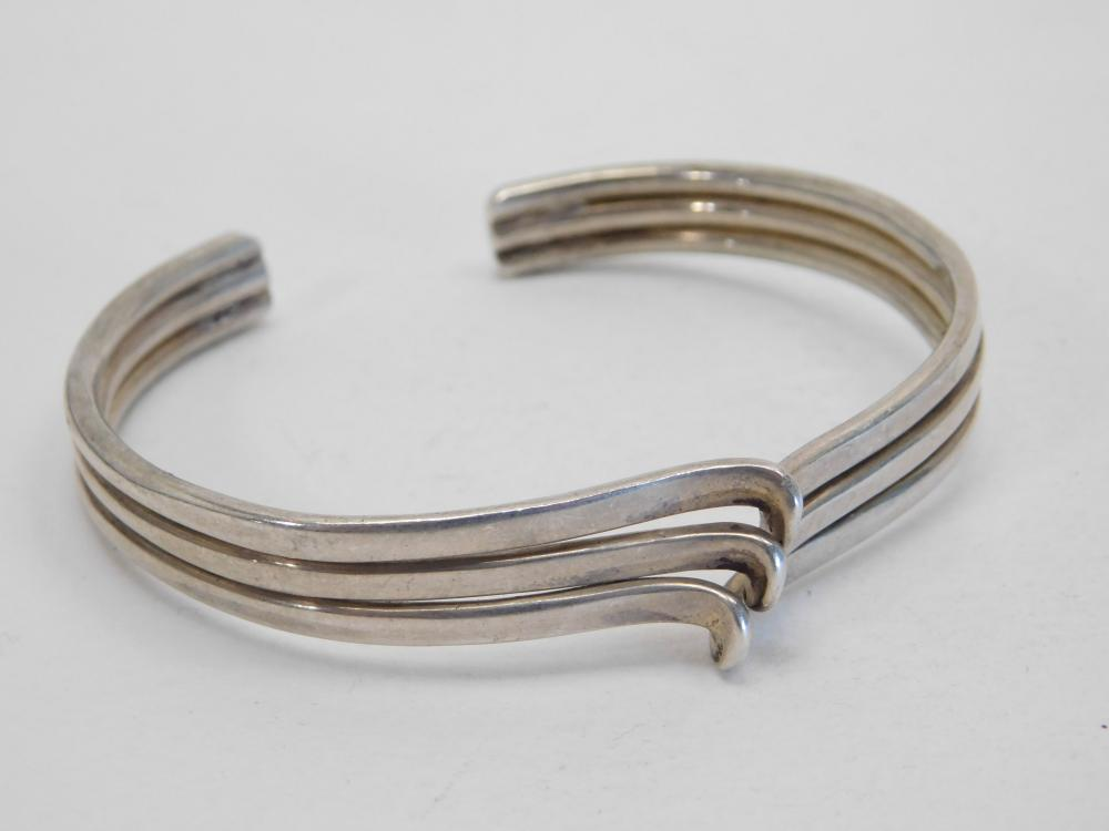Vintage Native American Or Mexico Sterling Silver Single Twist Cuff Bracelet 27.8G