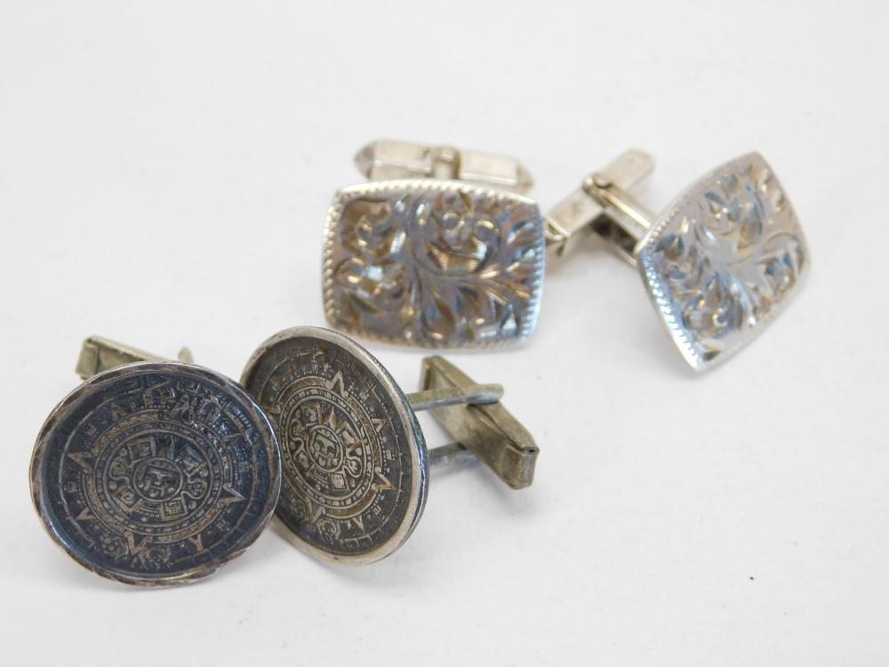 2Pr Sterling Silver Tooled & Mayan Calendar Cufflinks Lot 15.7G