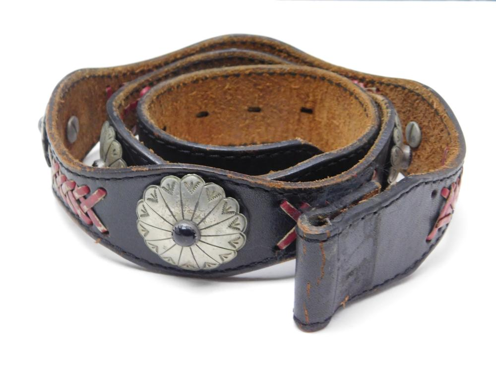 Vintage Nickel Silver Black Onyx Concho Belt