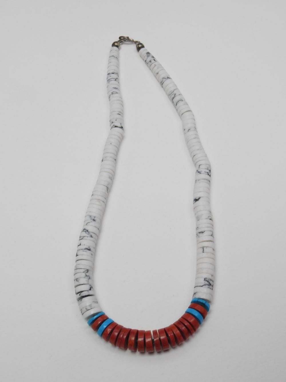 Vintage Native American Navajo Red White & Blue Graduated Disc Bead Necklace