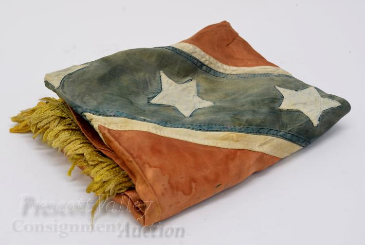 Lot 1: Civil War Confederate States of America Hand Sewn Silk 13 Star Reunion Era Rebel Flag with Gold Fringe