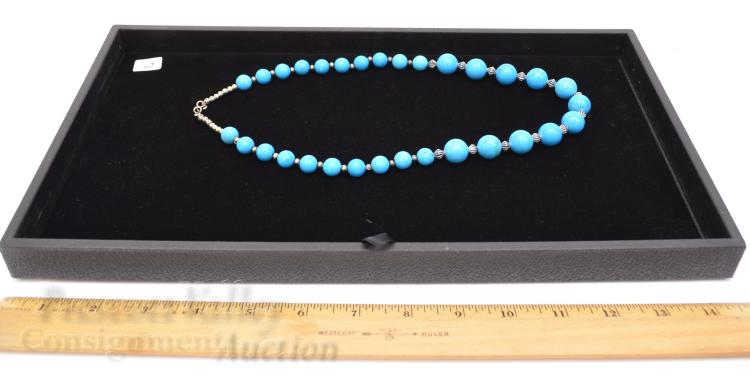 """Lot 2: Silver Plated and Graduated Bead Polished Man Made Turquoise 22"""" Necklace"""
