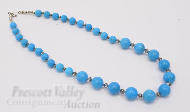 "Silver Plated and Graduated Bead Polished Man  Made Turquoise 22"" Necklace"