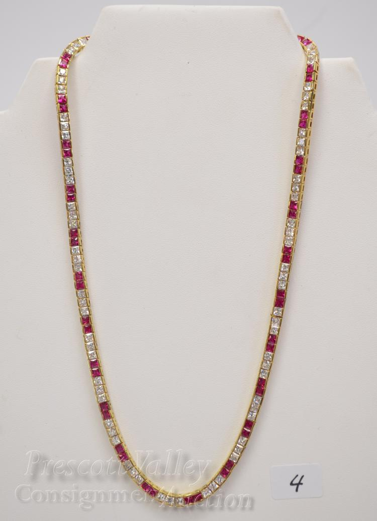 """Lot 4: 35.5 Gram Gold Washed Sterling Silver Red and White CZ 18"""" Necklace"""