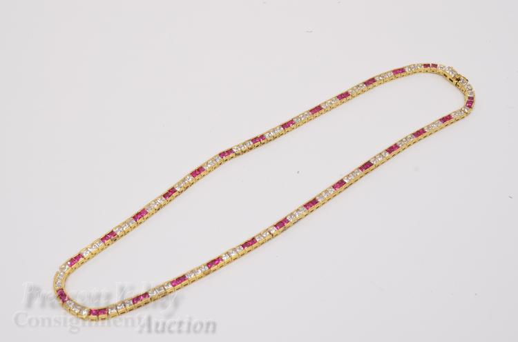 "35.5 Gram Gold Washed Sterling Silver Red and White CZ 18"" Necklace"