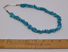 "Lot 5: Silver Plated and Polished Turquoise Nugget Bead 21"" Necklace"