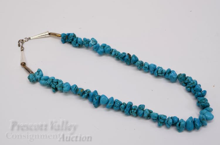 "Silver Plated and Polished Turquoise Nugget Bead 21"" Necklace"