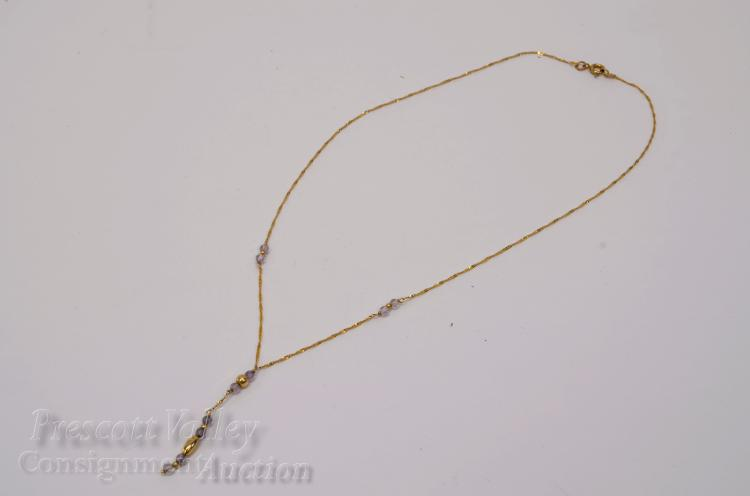 "1.4 Gram 14K Yellow Gold and Pale Amethyst Bead 17"" Necklace"