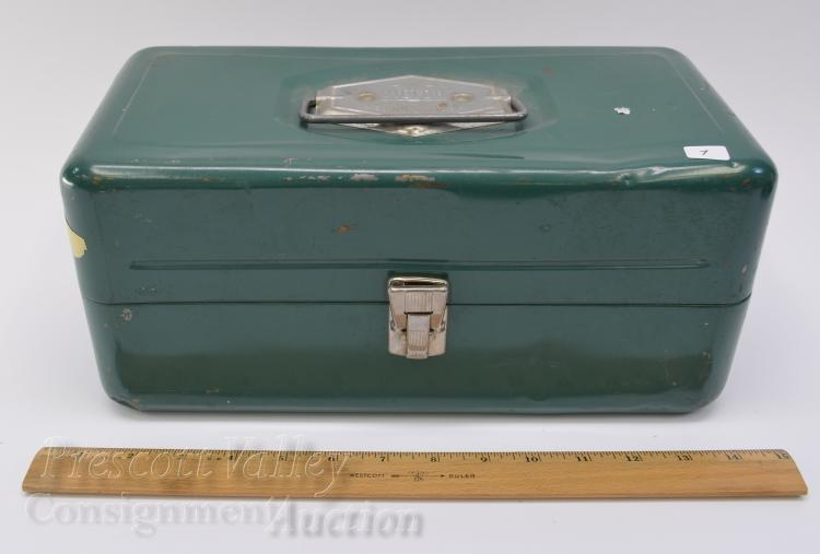 Lot 7: Vintage Atco Victor Metal Fishing Tackle Box Filled with Lures Sinkers and Flys