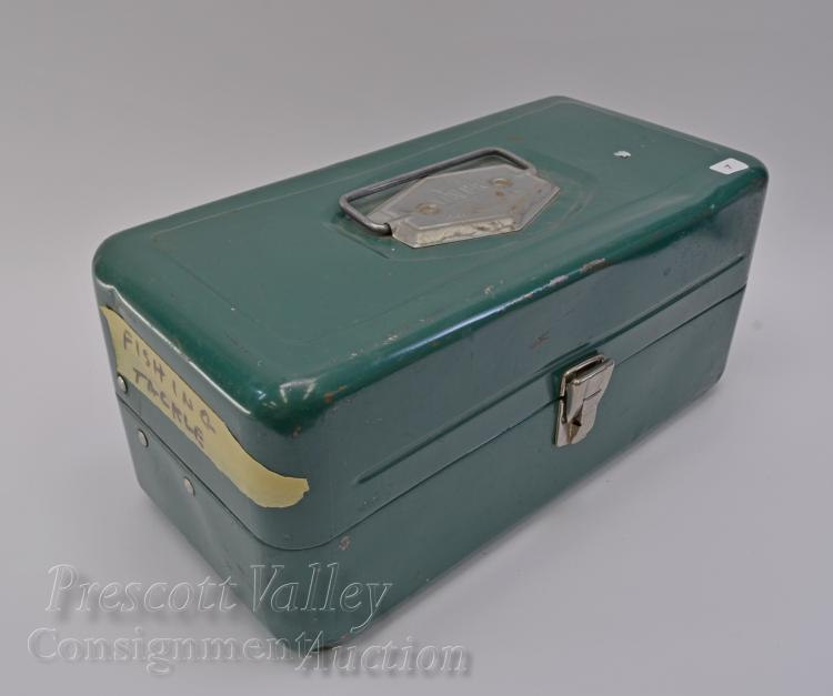 Vintage Atco Victor Metal Fishing Tackle Box Filled with Lures Sinkers and Flys